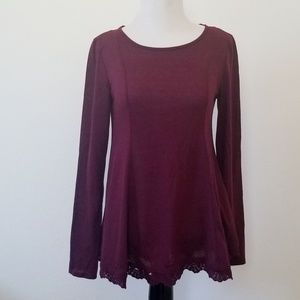 Xhilaration Burgandy Puplum Top with Tie Back